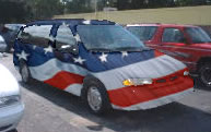 [Van painted with US flag]